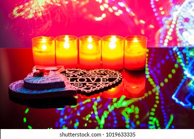 Be my valentine.Single lit candles.Candles new year.Beautiful side, background, circles.Valentine candle lights.Valentine's day