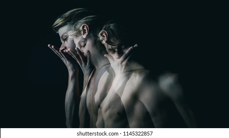 be silent. Don't speak. Young naked guy covers mouth with his hands. Multiple exposure. Creative emotional man portrait.