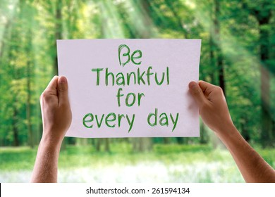 Be Thankful for Every Day card with nature background