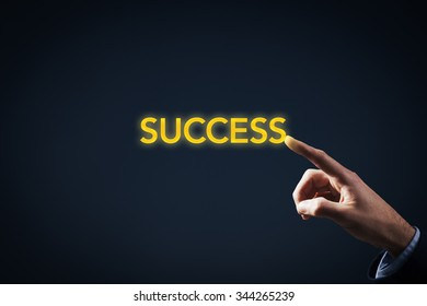 Be in touch with your success. Magic touch to be successful. Businessman touch on gold text success.