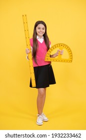 Be a wise girl. back to school. algebra and geometry. kid study math. stem disciplines. concept of education. measure the angle. child with protractor. measurement. happy teen girl hold ruler.