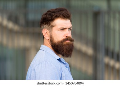 Be your best. brutal caucasian hipster. serious bearded man outdoor. Mature hipster with beard. Bearded man. Confident and handsome brutal man. Hair and beard care. Male barber care.