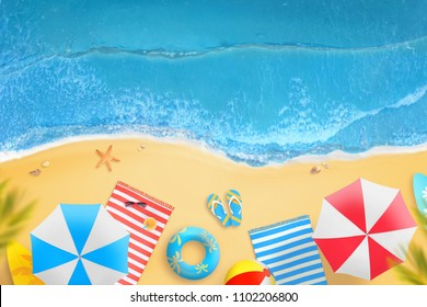 Beach from above. Parasols, palms, towels, cocktails, glasses, slippers on the beach. Summer vacation and beach relax.
