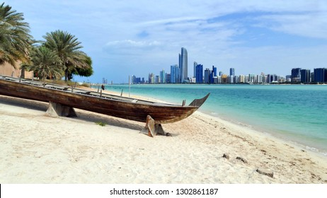 Beach in Abu Dhabi with panoramic view of the city