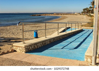 Beach with access for disabled people in southern Spain, Santa Pola, Alicante