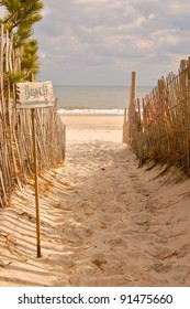 "Beach Access Path with ""Beach"" Sign"