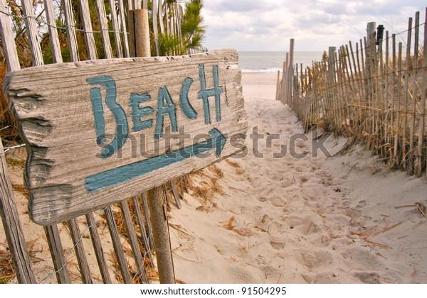 """Beach Access with """"Beach"""" Sign"""
