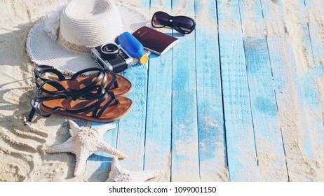 Beach Accessories On Blue Plank - Summer Holiday Banner. travel concept.