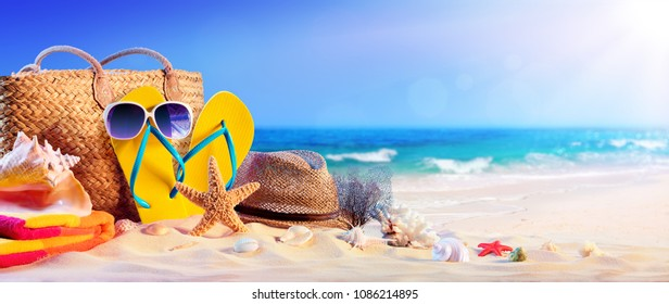 Beach Accessories On Seashore - Summer Holidays