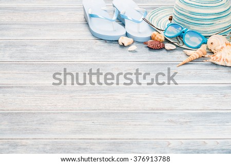 65024187a Beach Accessories On Wooden Board Concept Stock Photo (Edit Now ...
