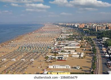 beach Adriatic sea Rimini cityscape Italy summer season