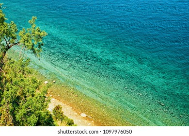 Beach and Adriatic sea at Strunjan National Park in Slovenia