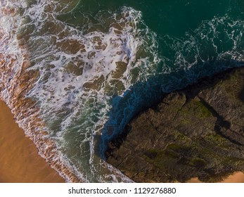 Beach aerial top view photograph from drone, its about 50m above sea level. Taken in Klayar beach, Pacitan, East Java, Indonesia. Its most beautiful beach in Southern Java, Indonesia