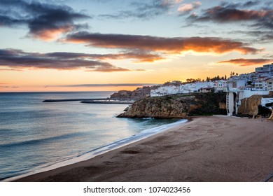 Beach in Albufeira, Portugal, the Algarve at sunset. Atlantic coast at sunset, beautiful landscape