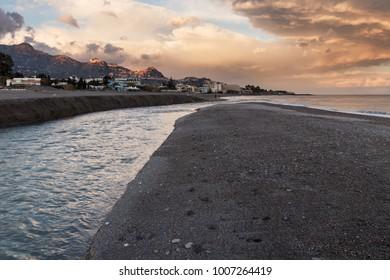 The beach at the Alcantara river's mouth in Sicily (near Taormina).