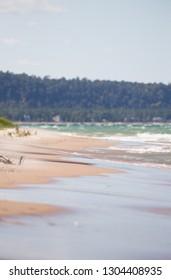 Beach along Lake Michigan shoreline near Traverse City, Michigan