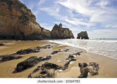 Beach from Alvor Tres Irmaos in the Algarve in Portugal