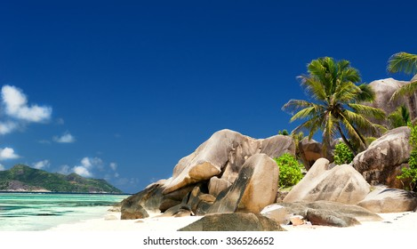 Beach Anse Source D'Argent on the seychelles