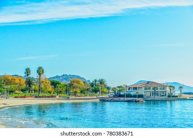Beach area in Toulon, France