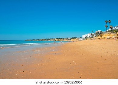 The beach in Armacao de Pera in the Algarve Portugal