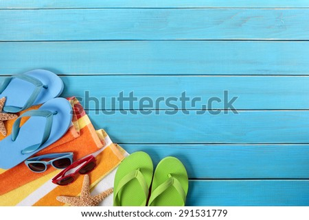 a96a1a031c4b7 Beach Background Border Flip Flops Sunglasses Stock Photo (Edit Now ...