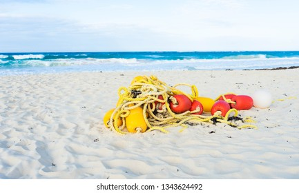 beach background with buoys and rope