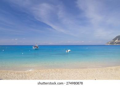 beach background - St. Nikitas village Lefkas island, Greece - spring