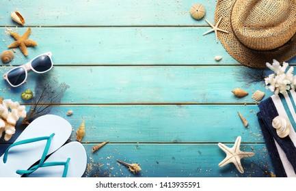 Beach Background - Summer Accessories On Blue Plank
