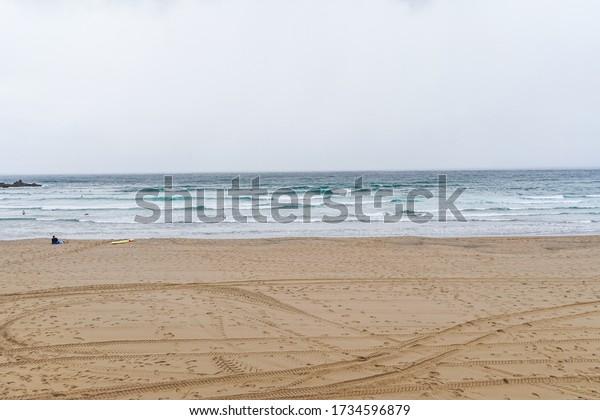 Beach in Bakio, village of Basque Country. Spain