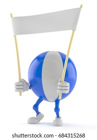 Beach ball character holding blank banner isolated on white background. 3d illustration
