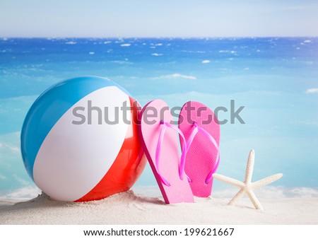 3928137b916e Beach Ball Flip Flops Starfish On Stock Photo (Edit Now) 199621667 ...