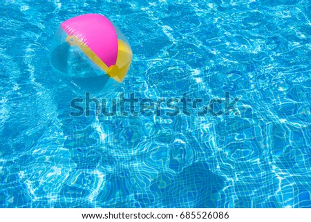 swimming pool beach ball background. Beach Ball In Swimming Pool, Summer Holiday Background, Relaxation And Fun  At Sunshine. Pool Beach Background B