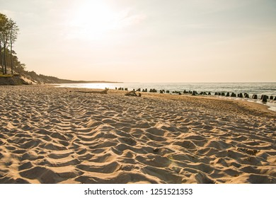 beach of the Baltic Sea with evening sun