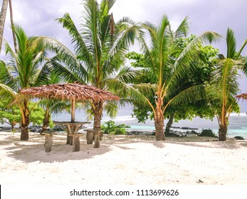 Beach bar leaner and thatched roof on Upolu Island, Western Samoa, South Pacific