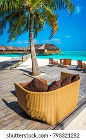 Beach bar on a holiday island resort in Maldives, Indian Ocean