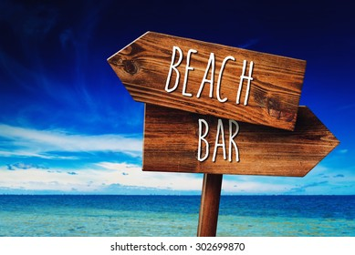 To the Beach or to the Bar, Rustic Wooden Direction Sign in Coastal Summer Vacation Resort