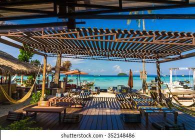 Beach bar at tropical island, Luxury beach resort