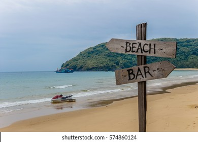 Beach and bar wooden sign