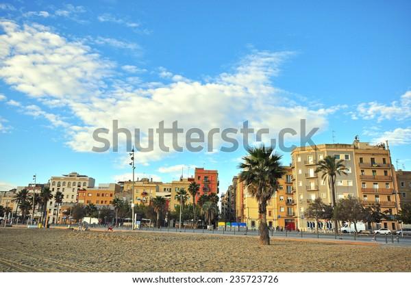 Beach of Barceloneta district, Barcelona, Spain