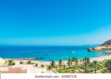 Beach of Barr Al Jissah Resort in east of Muscat, Oman.