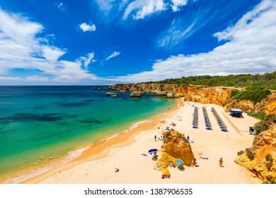 Beach of Barranco das Canas in Portimao, Algarve, Portugal. Praia do Barranco das Canas in Portimao, Portugal, Algarve.