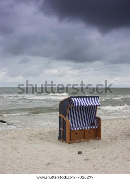 Beach basket.Locality Ustka(Poland).