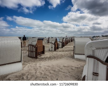 Beach baskets on a windy day in Warnemunde at the Baltic Sea