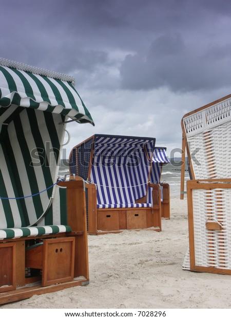 Beach baskets.Locality Ustka(Poland).