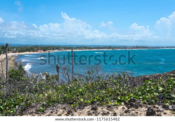 beach and bay of atlantic ocean along north coast puerto rico near cueva del indio by arecibo
