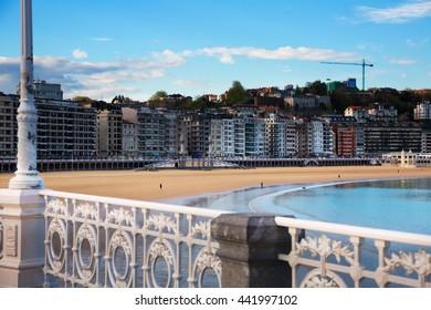 Beach of Bay of La Concha  at San Sebastian. Basque Country, Spain