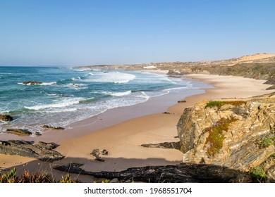 beach and bay Praia do Almograve, Alentejo, Portugal