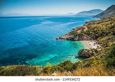 Beach and bay of Zingaro in Sicily