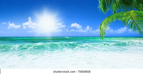 Beach, beautiful panoramic sea view, with clean water & blue sky