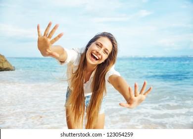 Beach, beautiful woman